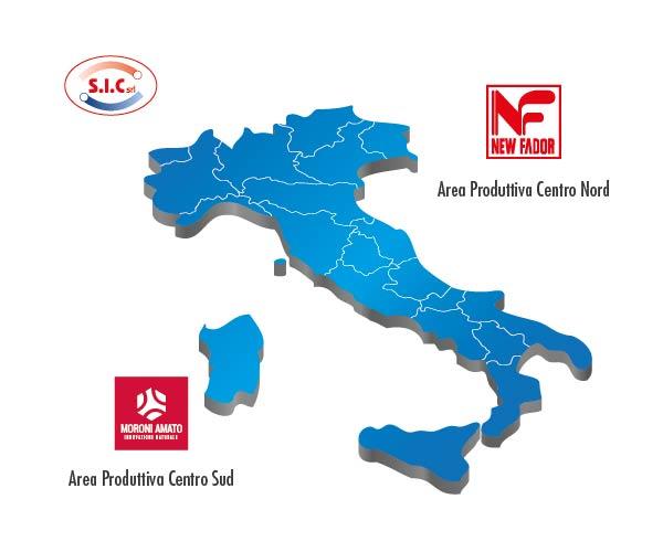cartina Italia e loghi New Fador srl e Moroni srl